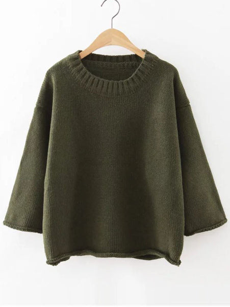 Army Green Round Neck Loose Sweater