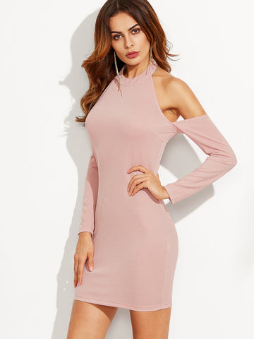 Pink Halter Neck Cold Shoulder Sheath Dress - Crystalline