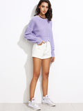 Purple Scallop Hem Crop Sweater