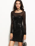 Black Mesh Sleeve Open Back Geometric Sequin Dress - Crystalline