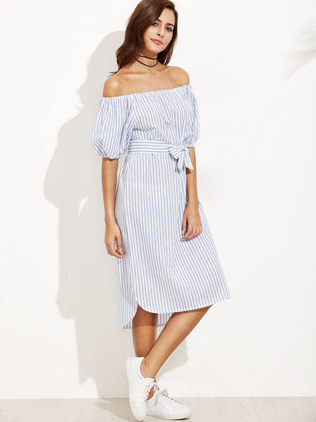Blue Striped Self Tie Off the Shoulder Dress