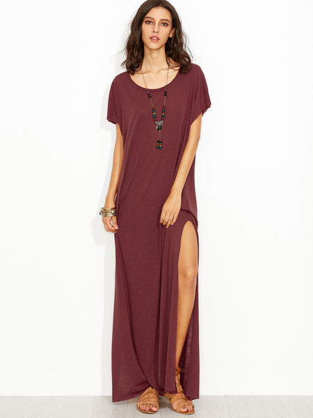 Burgundy Scoop Neck Short Sleeve High Slit Slub Tee Dress