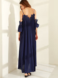 Navy V-Cut Back Front Cold Shoulder Pleated Lace Trim Dress