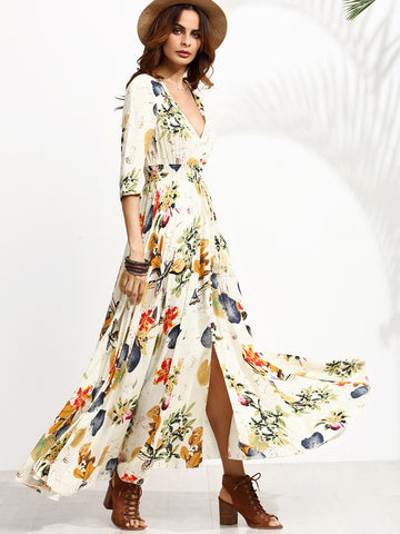 Apricot Floral Print 3/4 Sleeve Drawstring Button Dress