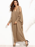 Camel Long Open Shoulder Crisscross Maxi Dress