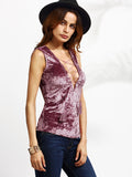 Purple Lace Up Deep V Neck Velvet Tank Top - Crystalline