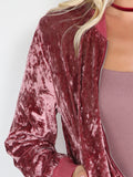 Pink Zip Up Ribbed Trim Velvet Bomber Jacket - Crystalline