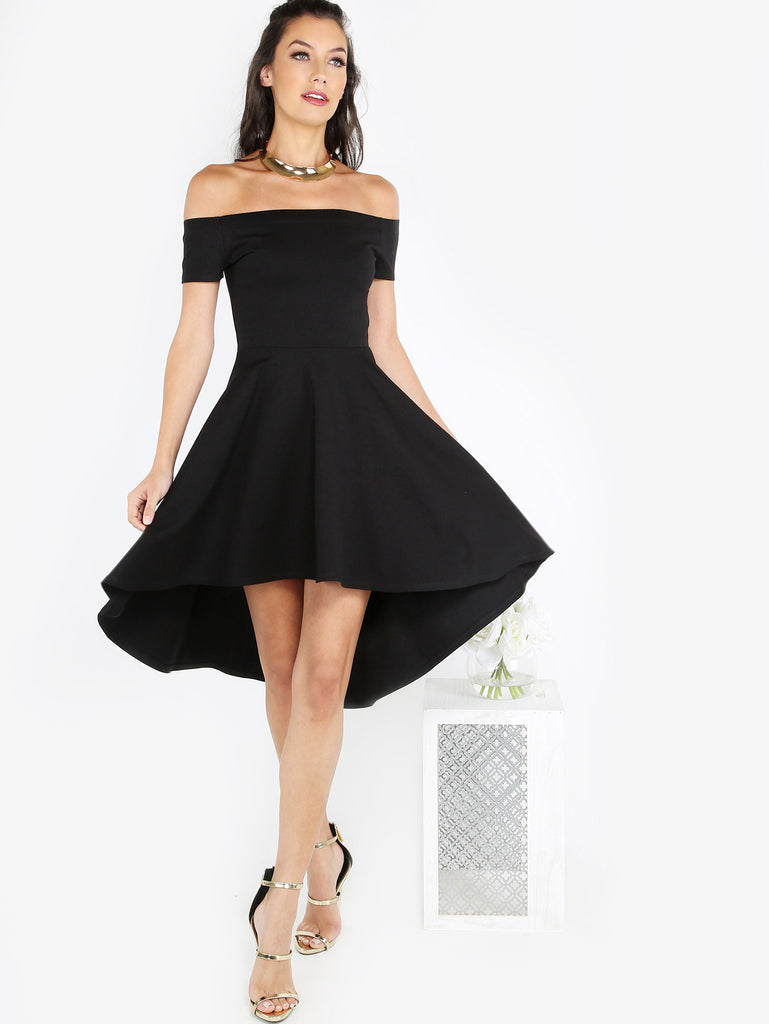 12fb1fc8bf Black Off Shoulder Skater Dress – Crystalline