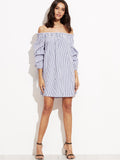 Blue Vertical Striped Off The Shoulder Dress