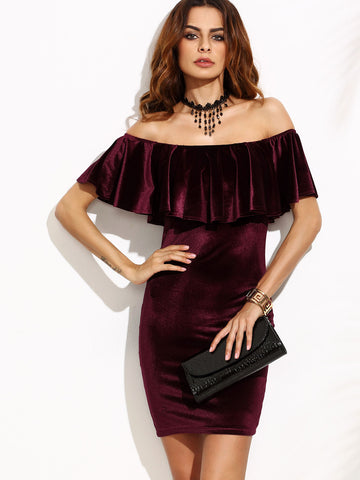 Burgundy Ruffle Off The Shoulder Velvet Bodycon Dress - Crystalline
