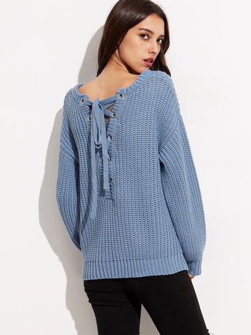 Blue Drop Shoulder Eyelet Lace Up Knit Sweater