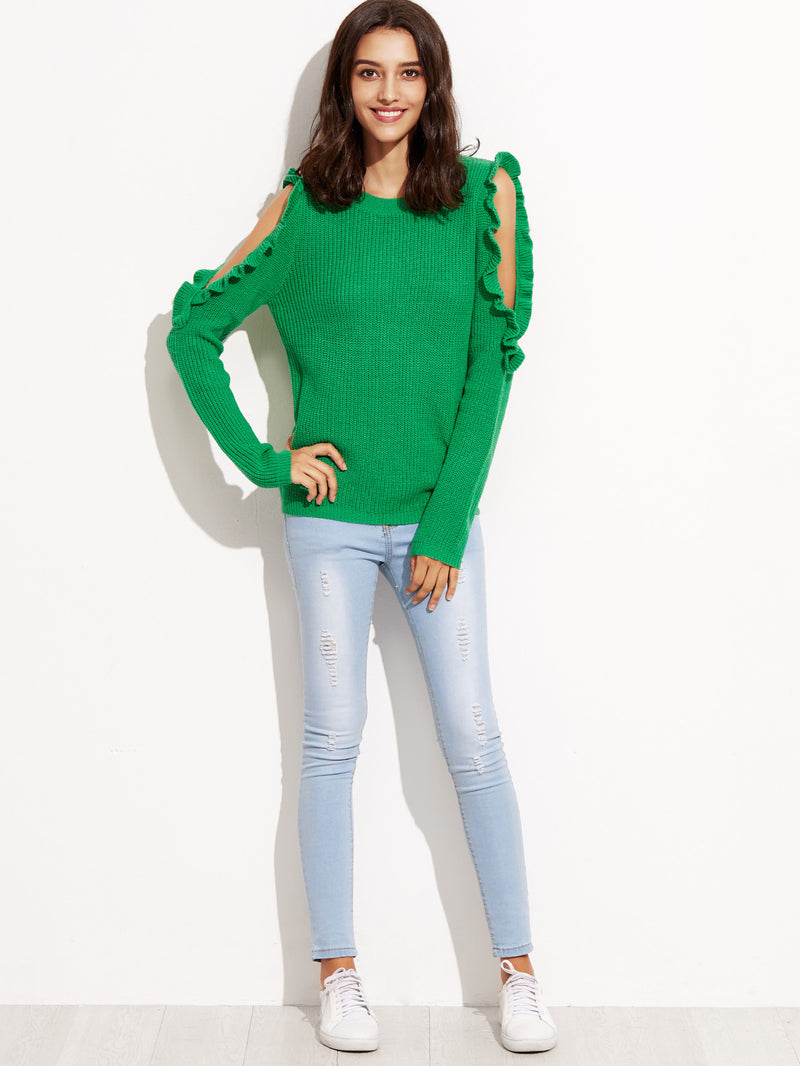 Green Open Shoulder Sweater