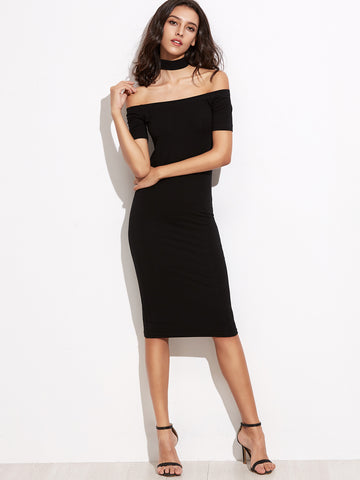 Black Off The Shoulder Pencil Dress With Choker - Crystalline