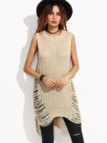 Apricot Ripped Sleeveless Sweater