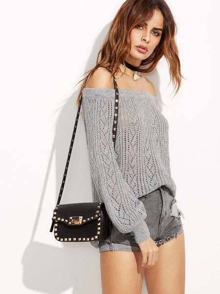 Grey Off The Shoulder Eyelet Sweater