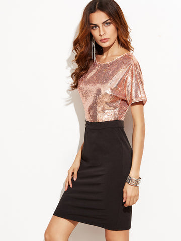 Contrast Sequin Top 2 In 1 Sheath Dress - Crystalline