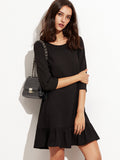 Black Round Neck Ruffle Hem A Line Dress