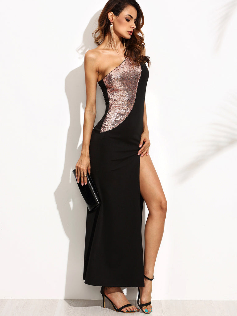 dd206a549e Black Gold Sequins Sleeveless Dress (FREE SHIPPING & FREE RETURNS)