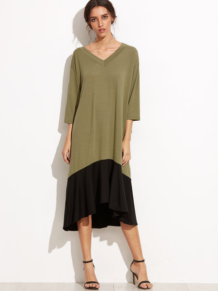 Green High Low V Neck 3/4 Sleeve Dress