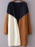 Navy Color Block Collarless Cardigan