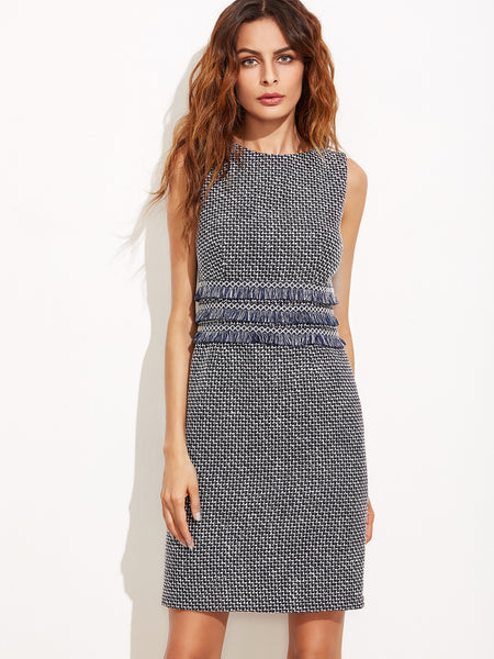 Navy Sleeveless Tweed Sheath Dress