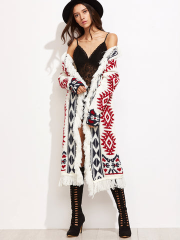 White Tribal Pattern Drop Shoulder Fringe Sweater Coat - Crystalline