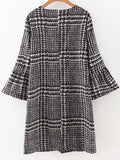 Black Houndstooth Print Dress