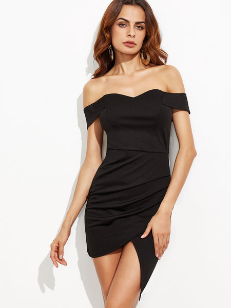 Black Off The Shoulder Ruched Wrap Dress - Crystalline