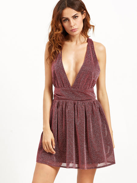 Burgundy Deep V Neck Sleeveless Sparkle Detail Party Dress - Crystalline