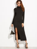 Black Cowl Neck Front Slit Sheath Dress