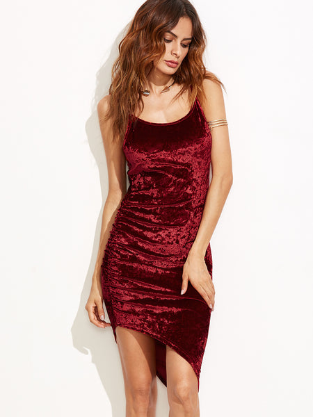 Burgundy Ruched Asymmetric Velvet Cami Dress - Crystalline