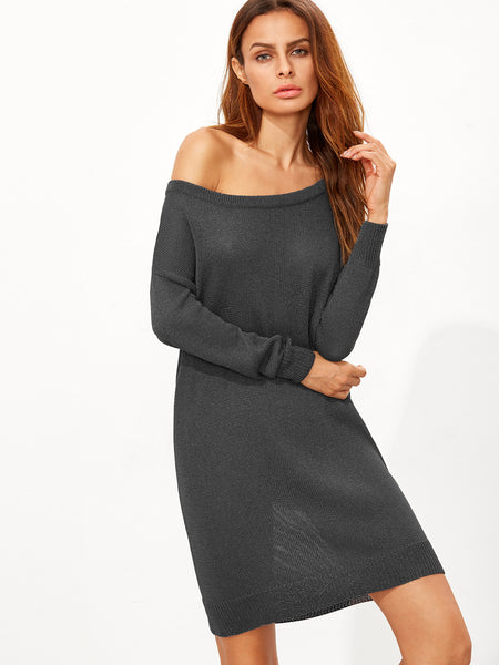 Grey Drop Shoulder Sweater Dress - Crystalline