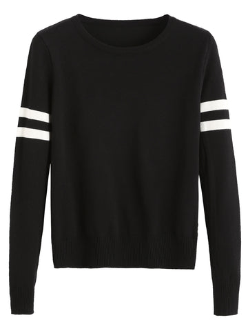 Black Striped Trim Casual Sweater