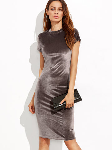 Brown Velvet Sheath Dress - Crystalline