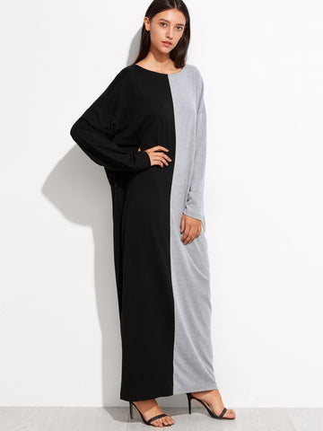 Black and Grey Dolman Sleeve Cocoon Dress