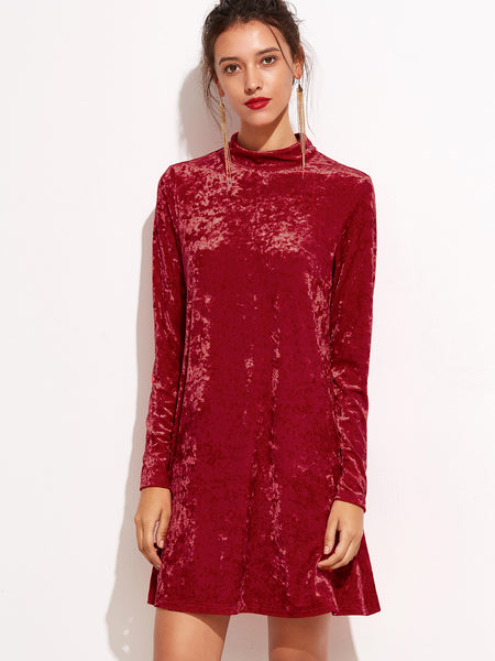 Red Mock Neck Keyhole Velvet Dress - Crystalline