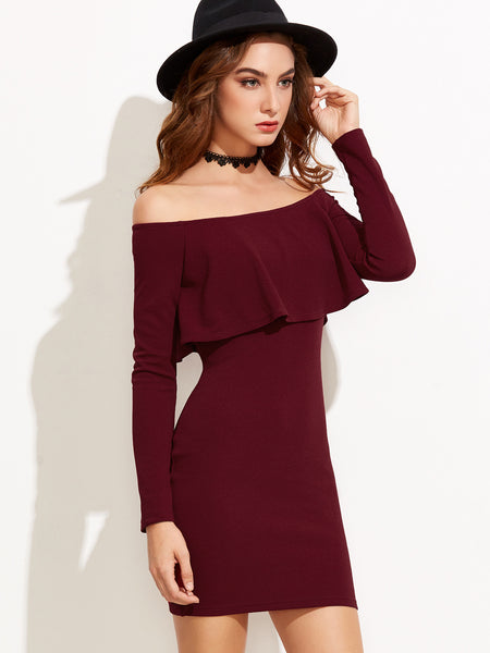 Burgundy Off The Shoulder Ruffle Bodycon Dress - Crystalline