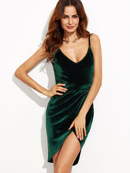 Dark Green Velvet Cami Backless Dress