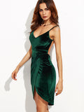 Dark Green Backless Ruched Velvet Wrap Cami Dress - Crystalline