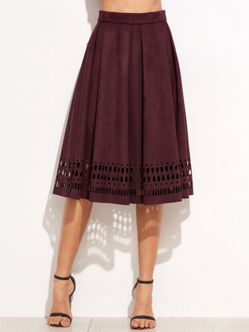 Burgundy Faux Suede Laser Cutout Midi Skirt - Crystalline
