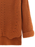 Brown Cuffed Sleeve Dip Hem Sweater