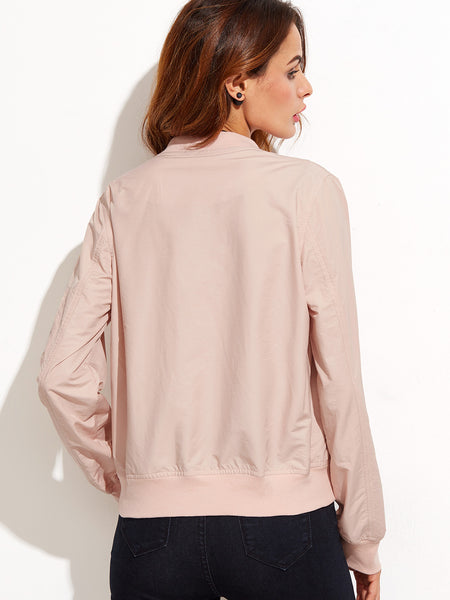 Pink Band Collar Zipper Front Jacket - Crystalline