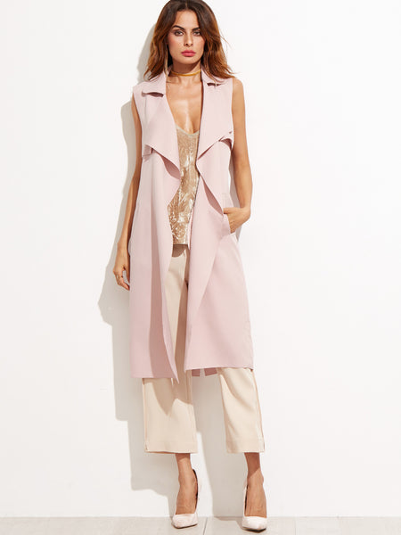 Pink Lapel Sleeveless Long Coat - Crystalline