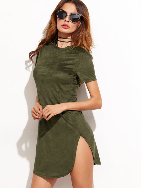 Army Green Slit Side Tee Dress - Crystalline