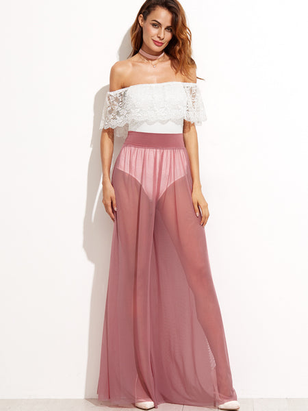 Pink Wide Leg Sheer Pants - Crystalline