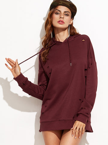 Burgundy Ripped Drop Shoulder Hooded Sweatshirt - Crystalline