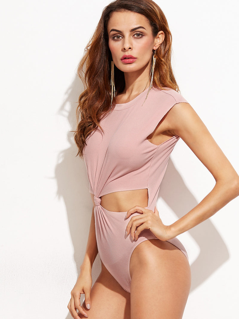 Pink Twist Cut Out Front Bodysuit - Crystalline