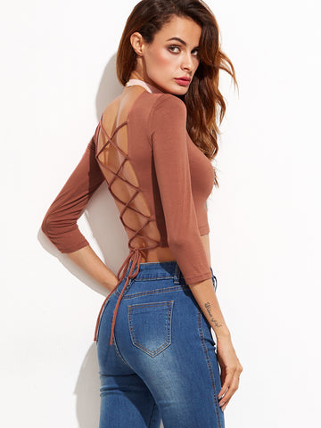Lace Up Open Back Sexy Crop T-shirt - Crystalline