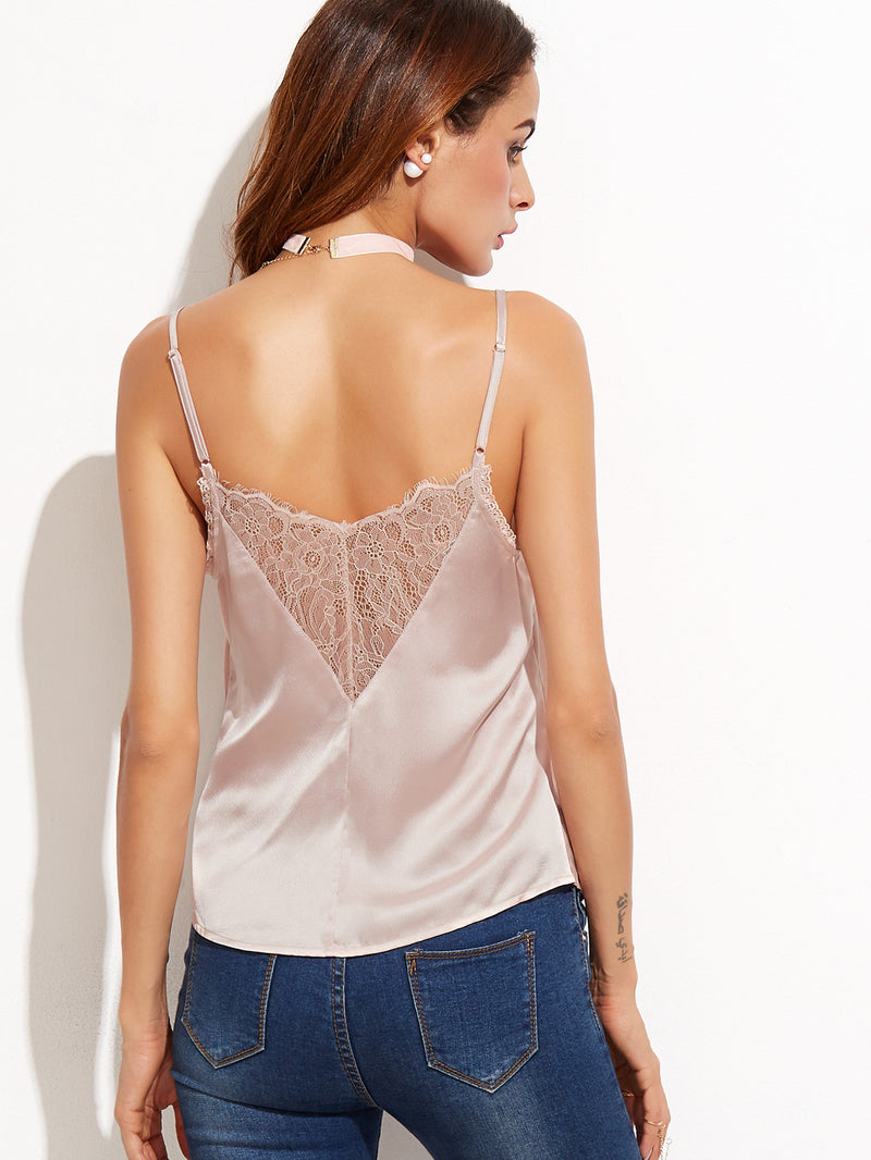 Pale Pink Contrast Lace Cami Top - Crystalline