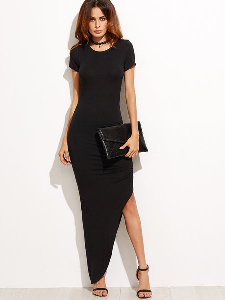 Black Short Sleeve Asymmetrical Dress